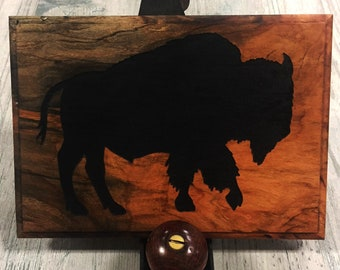 Bison Etched Osage Orange Plaque