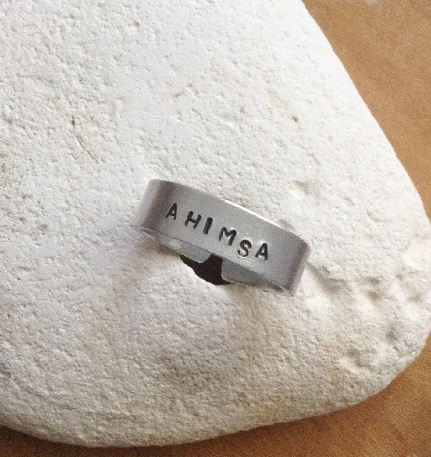 Ahimsa sanskrit vegan ring - handstamped cuff ring. Made to order and comes in small medium and large.