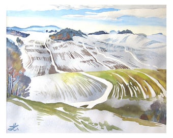 Snow Covered Landscape, Art Print of original Watercolor painting, Germany, Mountain scenery,snow melting, winter scenery