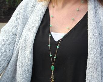 Chrysoprase Convertible Charm Necklace