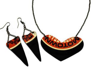 Motown neclace and earring set, hand cut from pre loved Motown record