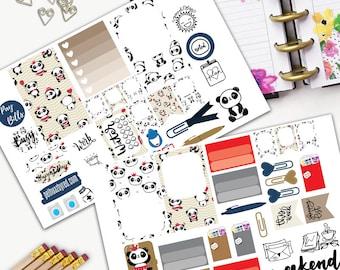 Cute Panda Kawaii Theme Planner Weekly Sticker SMALL Kit, CLASSIC Happy Planner Sticker, Weekly Set, Stickers, Printed, Cut, Panda, Red