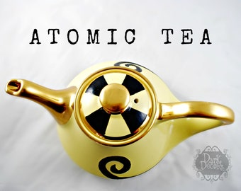 Vintage Pearl China Co. Teapot Canary Yellow Ceramic Tea Server Mid Century Aladdin Style Black Swirl Atomic Design