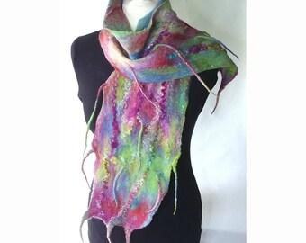 Scarf, felt scarf, merino wool scarf, wearable art, colourful scarf