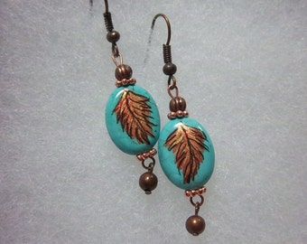 Feather Earrings, Southwestern Earrings, Hand-Painted on Turquoise Ovals,  Dangle Earrings, Turquoise and Silver