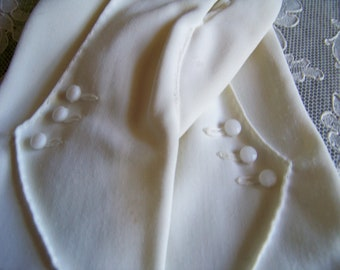 Vintage White Nylon Glove with Tiny Buttons