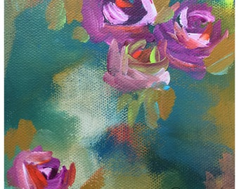 Midnight Blooms - Original Acrylic Floral Painting