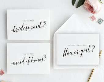 Will You Be My Bridesmaid + Maid of Honor + Flower Girl Cards Template Printable | Bridesmaid Card | Maid of Honor Card | Flower Girl Card