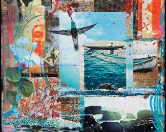 SHIMMER, 3 Sizes, 8x10, 11x14, 16x20, Best Seller, Hand Signed Matted Print, ocean, swimming, Buddha, hummingbird, wall art, gift