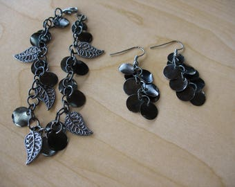 Pewter Dangles and Leaves Charm Bracelet and Earrings