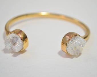 Vintage Gold Plated Natural White Druzy Quartz Gemstone Cuff Bracelet