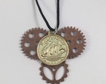 Coin and gear necklace