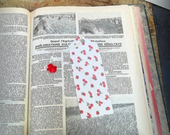Cherry red flower bead bookmarks, paper print d ' double-sided fabric