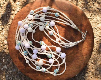 Bohemian Chunky White and Blue Bead Twisted Multi-Strand Necklace