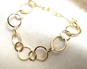 18k Gold Bang Bracelet - Solid 18kt Yellow Gold Round Hammered Link Adjustable Bracelet