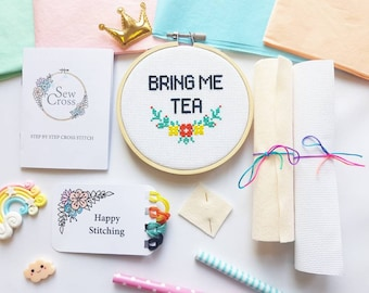 Bring Me Tea Cross Stitch Kit - Cross Stitch - Embroidery Kit - Craft Kit - Diy- Tea Lover Gift - Funny Cross Stitch - Modern Cross Stitch