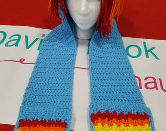 Rainbow Brite hat with scarf and pocket/hand warmers