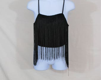 Vtg Black Fringe Flapper Inspired Crop Top | Vintage Going Out Top