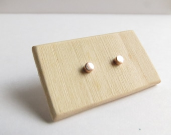 Solid 14K Rose, White or Yellow Gold Graphic Geometric Dot Studs. Solid gold dot studs. 14K minimalist gold stud earrings.