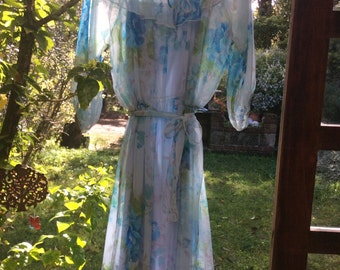 1960s vintage sheer floaty floral day/party dress. Frill neck. Waist tie. Size 10-14