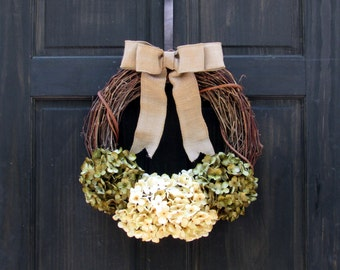 Spring Wreath for Front Door, Wreath for Spring, Hydrangea Wreath, Year Round Wreath, Summer Wreath, Fall Wreath, Rustic Grapevine Wreath