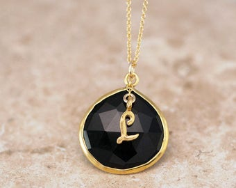 Black Onyx Necklace, Script Initial Necklace, Birthday Gift for Her, Personalized Stone Jewelry, Gold Edged Stone, Statement Necklace, Gifts