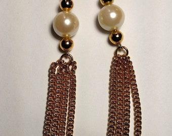 Big Sale Vintage Runway Long Gold Chain Burlesque Faux Pearl Tassel Tassle Fringe Pierced Earrings Chandelier