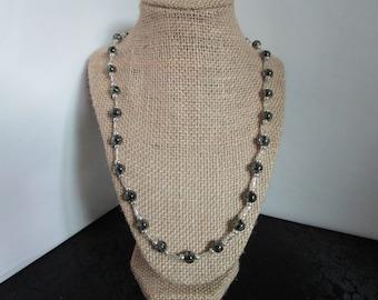 Black Smoke Glass Beaded Necklace