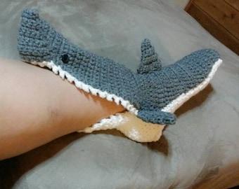 Crochet Shark Socks Slippers Shoes  Youth Men Women