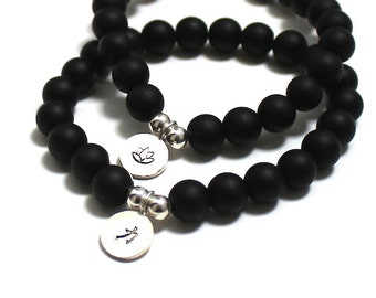Women Mens Inspirational Jewelry, Motivational Meaningful Bracelets for Couples, Sterling Silver Lotus Strength Charm, Onyx Chakra Bracelet