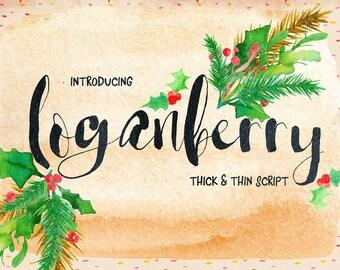 Digital Font, Loganberry, Script Font, Brush Wedding Font, Calligraphy, Signature Typeface, Hand Written font