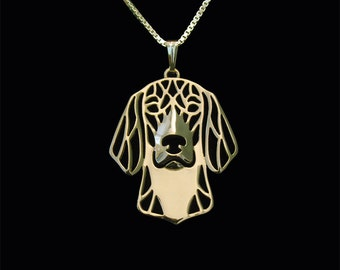 American Foxhound - gold pendant and necklace.