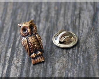 Brass Owl Tie Tac, Bird Lapel Pin, Barn Owl Brooch, Gift for Him, Gift Under 10 Dollars, Tie Tack, Bird Gift, Nature Lapel Pin