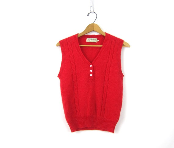 Fuzzy Red Sweater Vest Shetland Wool Sleeveless Sweater Soft Knit LL Bean Cableknit Top with Buttons Preppy size Small Medium