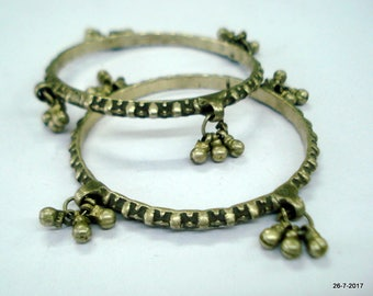 old silver bangle bracelet pair set 2pc vintage antique jewelry