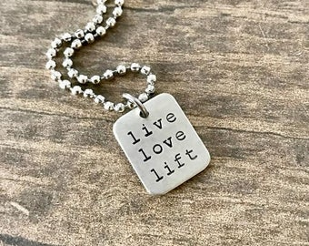 Weight Lifting Jewelry, Motivational, Live Love Lift, Charm Necklace, Strength Training, Competition Jewelry, Fitness Jewelry