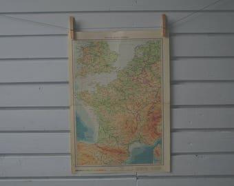 1961 Vintage Map of France