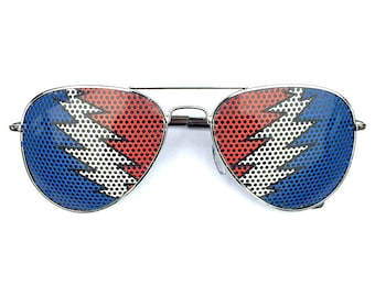 Bolt Graphic Aviator Festival Sunglasses, Polarized, Heart Shaped and Round Options