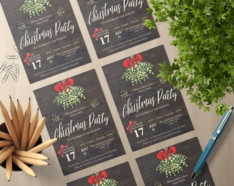 5x7 Printable Mistletoe Christmas Party Invite | Holiday Party Invitation | Editable PDF Template | Instant Download | Rustic Wood Invite