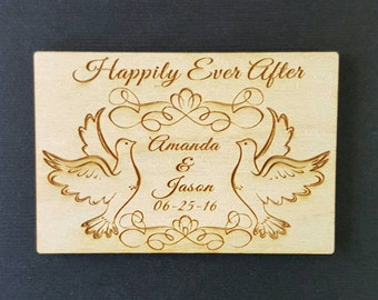 Wedding Favor, Magnets - Bride, Groom, Gift, Save the Date, Rustic, Custom, Happily Ever After