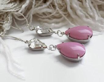 Pink Crystal Earrings Bridal Earrings Pink Teardrop Earrings Bridesmaid Gift Anniversary Gift for Her