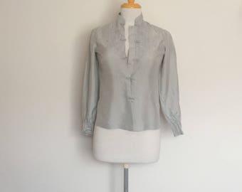 1980s Grey Oriental Silk Blouse Vintage