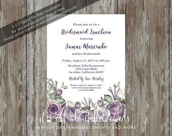 "Bridal/Wedding Shower invitations - Digital file ""Purple/White Florals"" design"