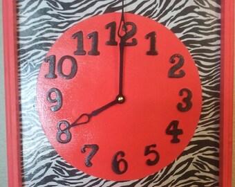 Pink & Zebra Clock