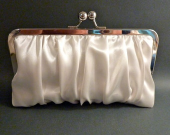 Bridal Clutch Ivory or White Gathered Satin