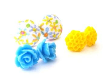 SALE Floral Stud Trio