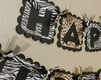 Animal Print Birthday Banner Zebra and Leopard Cheetah