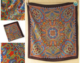 SALE Super Psychedelic Paisley Scarf Vintage Colorful Boho Head Scarf Festival Scarf Abstract Print Cotton Scarf Gift for Him Her