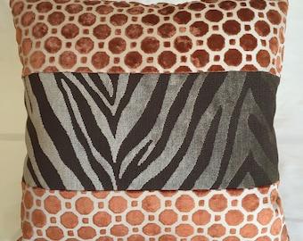 Giraffe Velvet Hexagon/ Chocolate Zebra Velvet & Tapestry