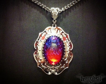 Smoky opal necklace smoky fire opal mexican fire opal dragons breath glass fire opal necklace mexican fire opal victorian jewelry gothic jewelry aloadofball Image collections